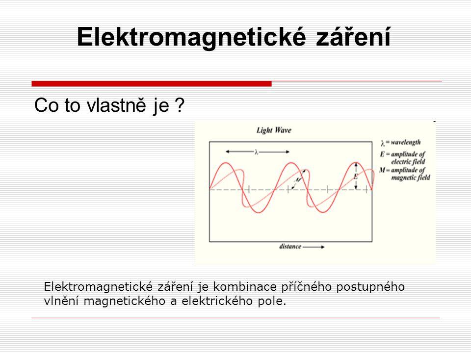 Elektromagnetické záření Co to vlastně je ? Elektromagnetické záření je kombinace příčného postupného vlnění magnetického a elektrického pole.