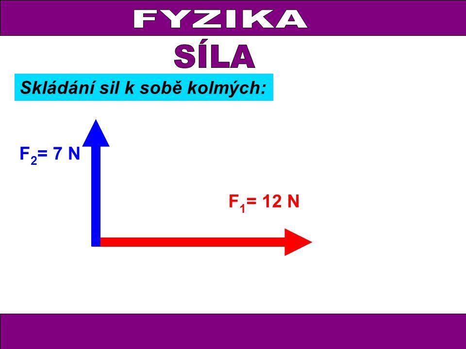 FYZIKA F 1 = 12 N F 2 = 7 N Skládání sil k sobě kolmých: