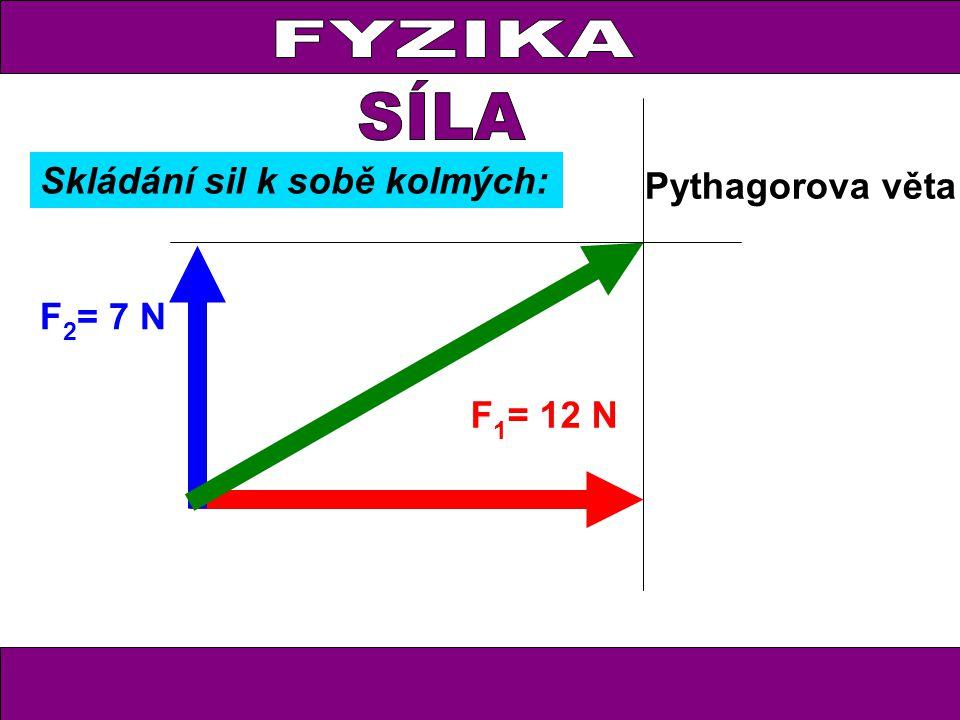 FYZIKA F 1 = 12 N F 2 = 7 N Pythagorova věta Skládání sil k sobě kolmých: