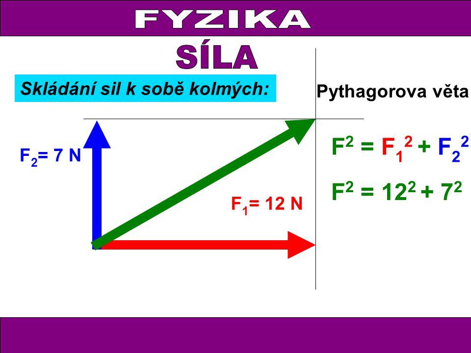 FYZIKA F 1 = 12 N F 2 = 7 N Pythagorova věta F 2 = F 1 2 + F 2 2 F 2 = 12 2 + 7 2 Skládání sil k sobě kolmých: