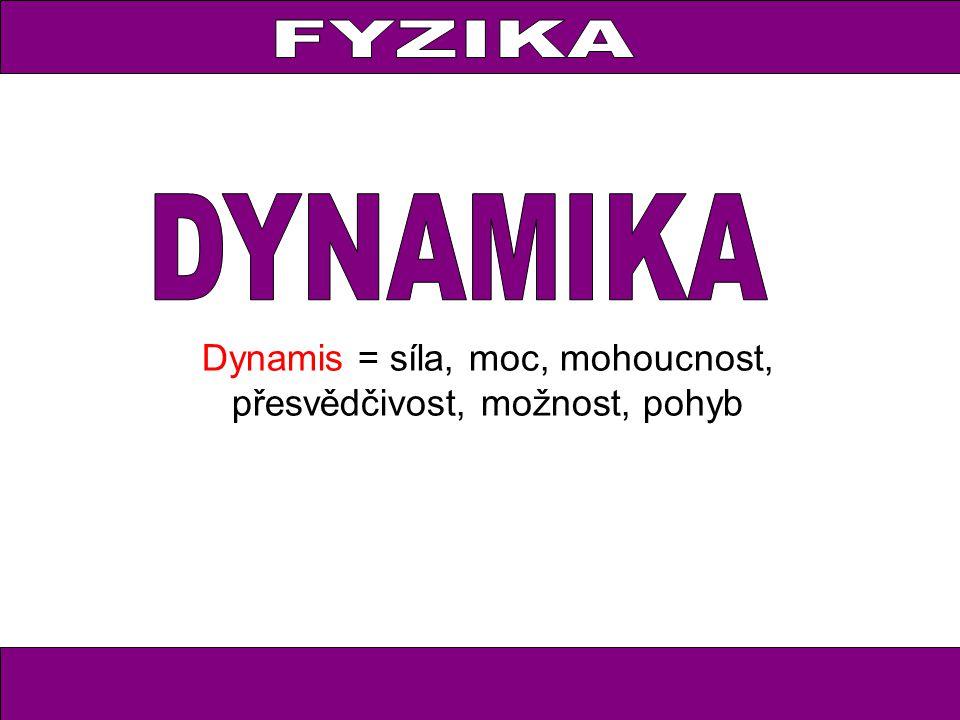 Dynamis = síla, moc, mohoucnost, přesvědčivost, možnost, pohyb