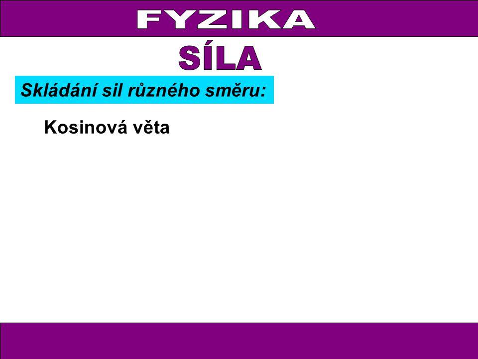 FYZIKA Kosinová věta Skládání sil různého směru: