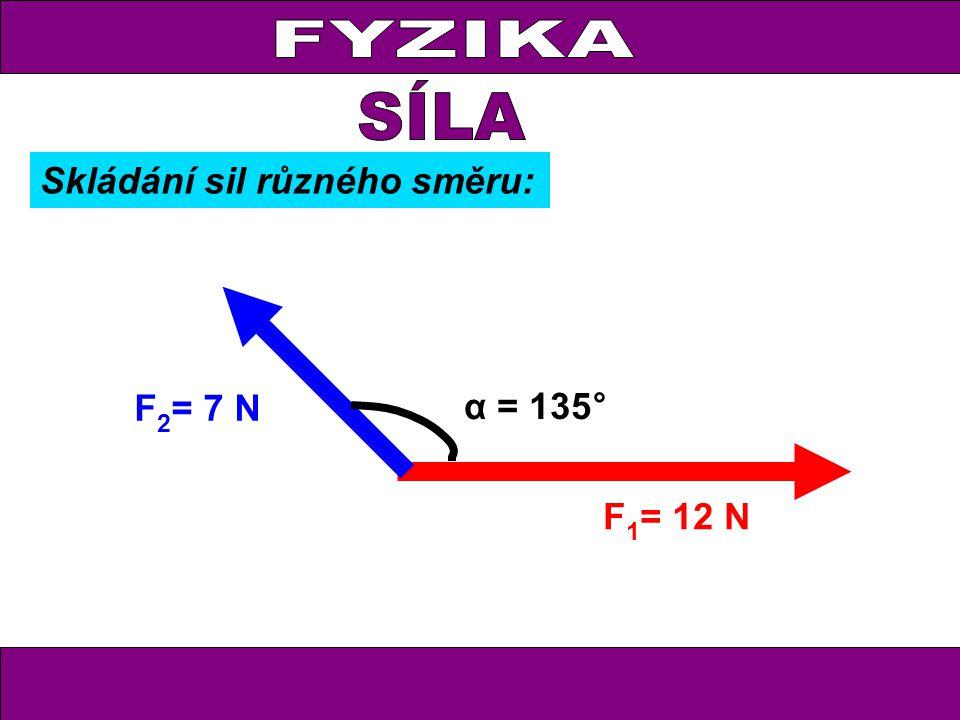 FYZIKA F 1 = 12 N F 2 = 7 N α = 135° Skládání sil různého směru: