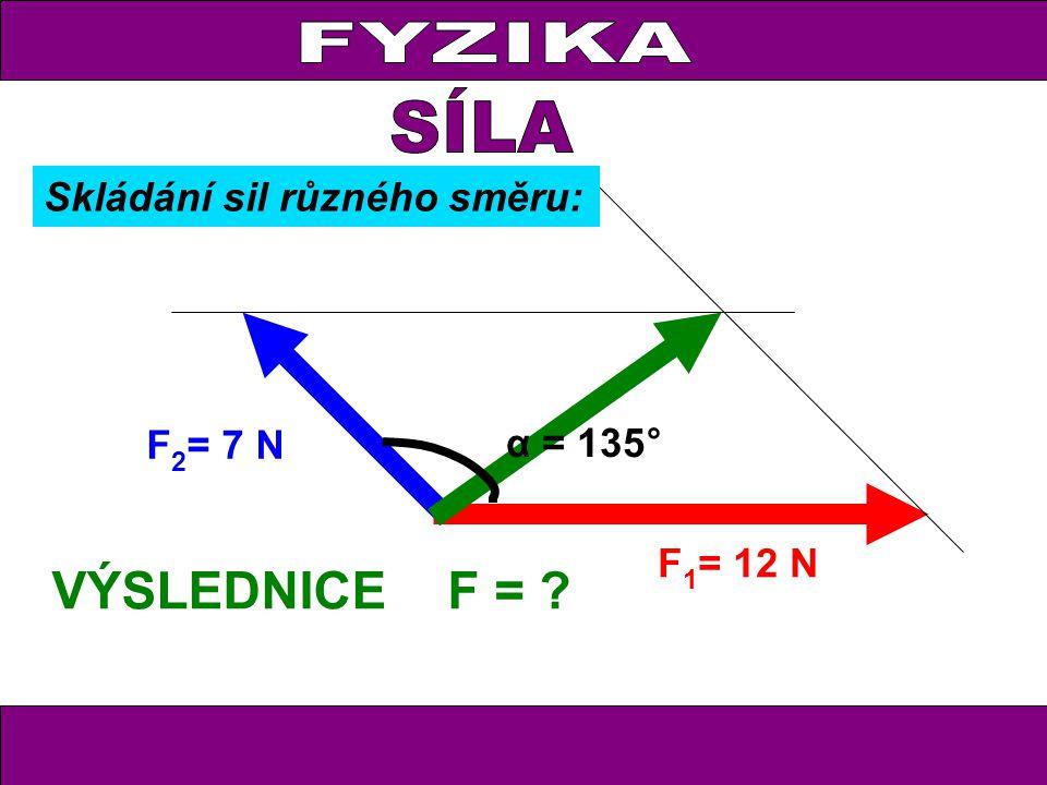FYZIKA F 1 = 12 N F 2 = 7 N F = VÝSLEDNICE α = 135° Skládání sil různého směru: