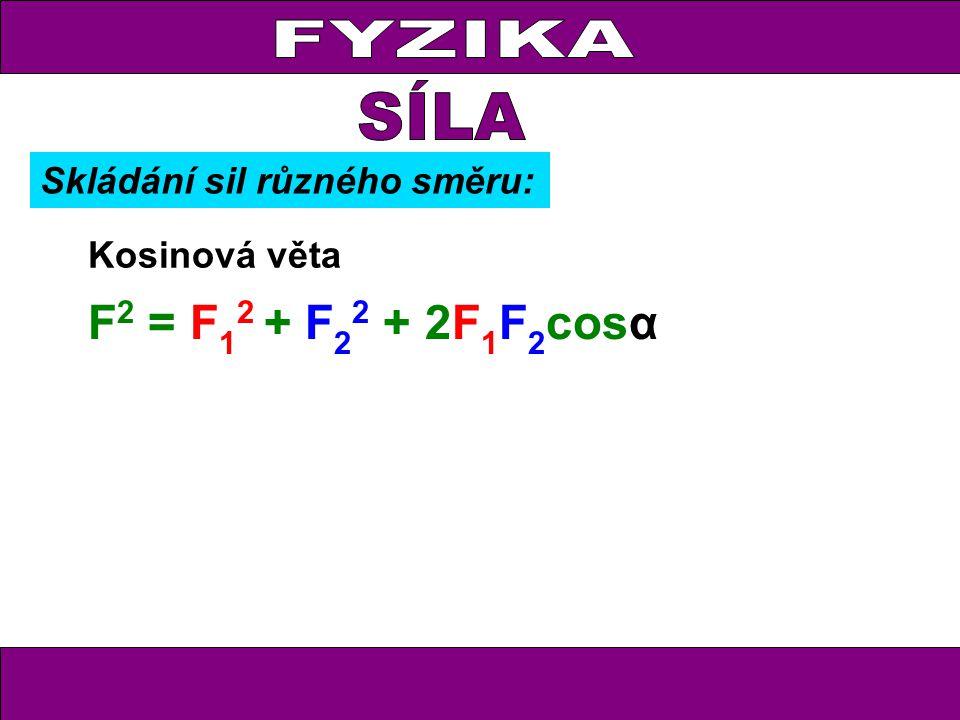 FYZIKA Kosinová věta F 2 = F 1 2 + F 2 2 + 2F 1 F 2 cosα Skládání sil různého směru: