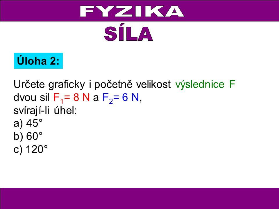 FYZIKA Úloha 2: Určete graficky i početně velikost výslednice F dvou sil F 1 = 8 N a F 2 = 6 N, svírají-li úhel: a) 45° b) 60° c) 120°