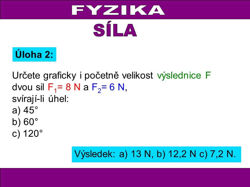 FYZIKA Úloha 2: Určete graficky i početně velikost výslednice F dvou sil F 1 = 8 N a F 2 = 6 N, svírají-li úhel: a) 45° b) 60° c) 120° Výsledek: a) 13 N, b) 12,2 N c) 7,2 N.