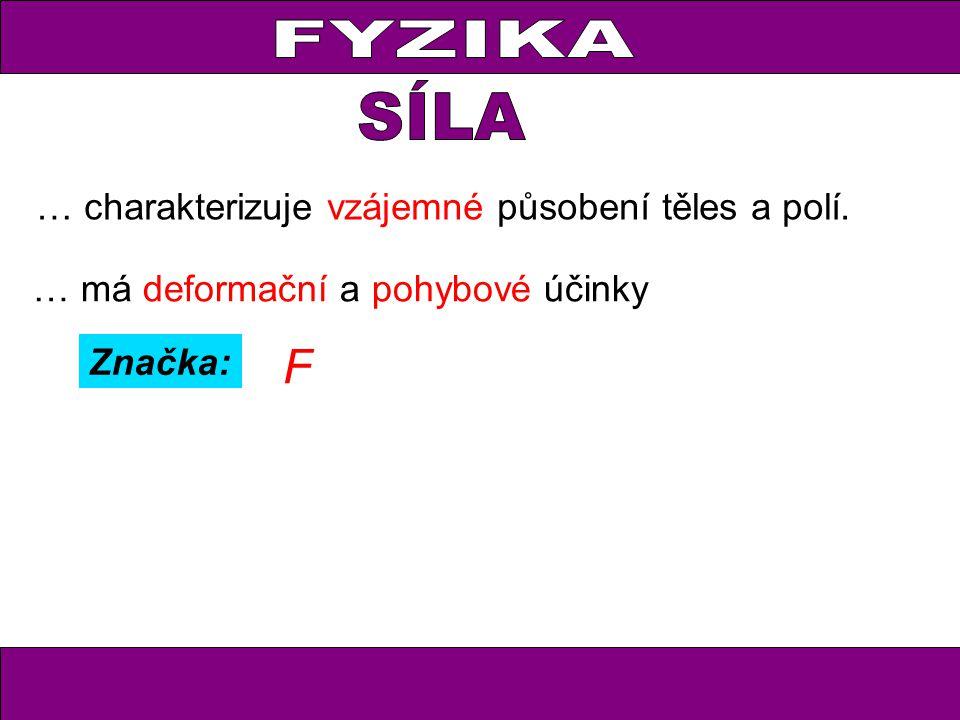 FYZIKA … charakterizuje vzájemné působení těles a polí. F Značka: … má deformační a pohybové účinky