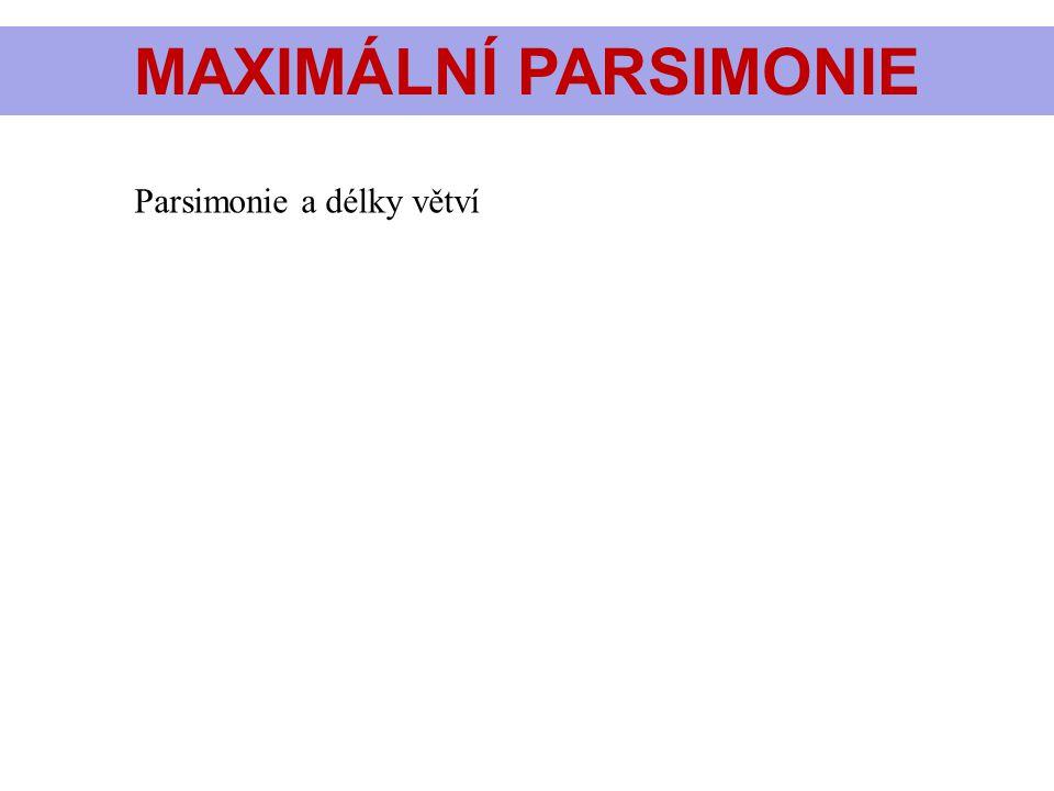 MAXIMÁLNÍ PARSIMONIE Parsimonie a délky větví