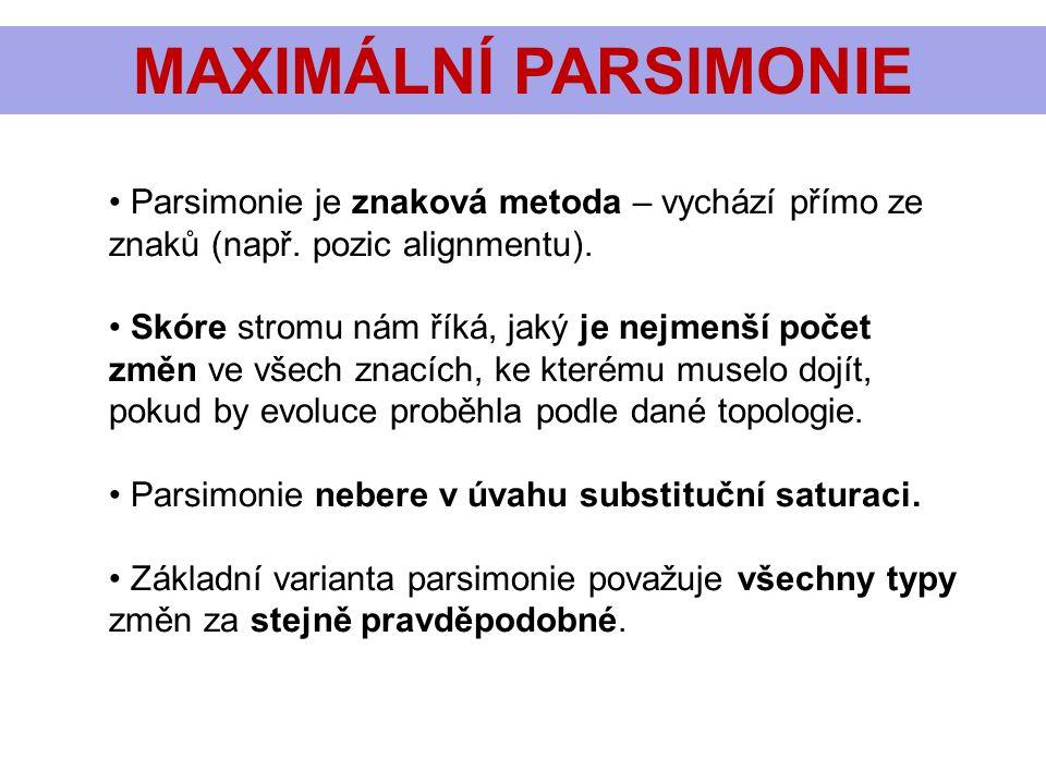 MAXIMÁLNÍ PARSIMONIE Parsimonie je znaková metoda – vychází přímo ze znaků (např. pozic alignmentu). Skóre stromu nám říká, jaký je nejmenší počet změ