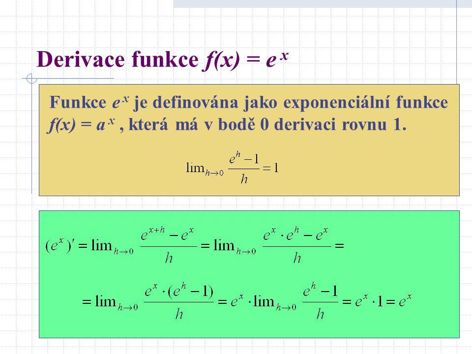 Derivace funkce f(x) = e x Funkce e x je definována jako exponenciální funkce f(x) = a x, která má v bodě 0 derivaci rovnu 1.