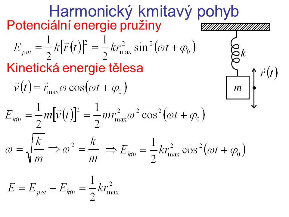 Harmonický kmitavý pohyb Potenciální energie pružiny m k Kinetická energie tělesa