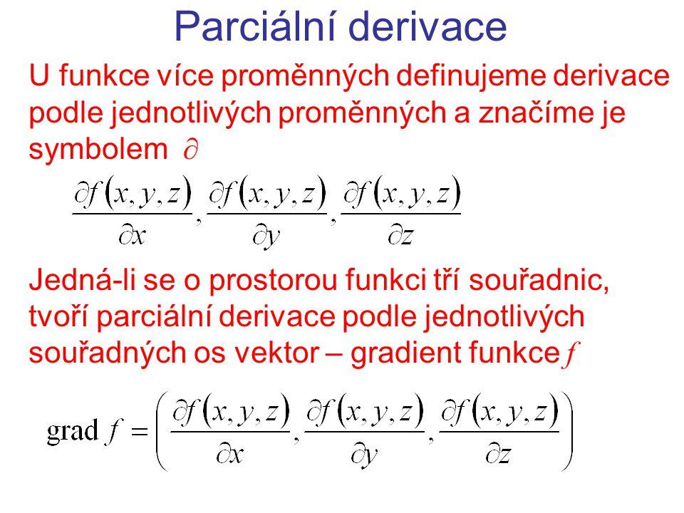 Parciální derivace U funkce více proměnných definujeme derivace podle jednotlivých proměnných a značíme je symbolem  Jedná-li se o prostorou funkci tří souřadnic, tvoří parciální derivace podle jednotlivých souřadných os vektor – gradient funkce f