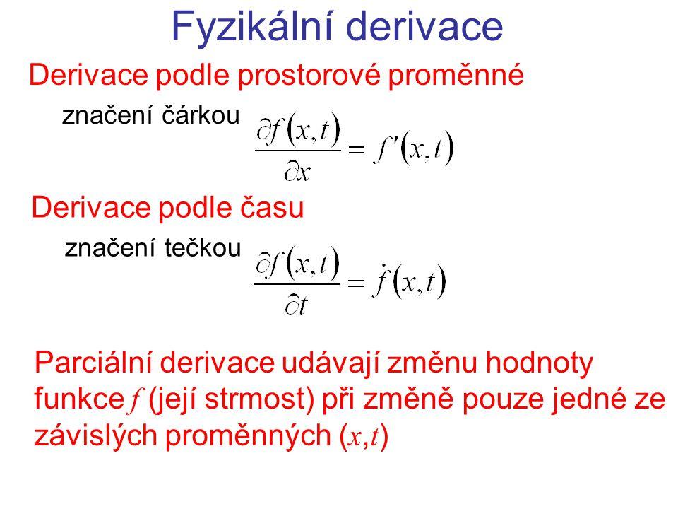 Fyzikální derivace Derivace podle prostorové proměnné značení čárkou Derivace podle času značení tečkou Parciální derivace udávají změnu hodnoty funkce f (její strmost) při změně pouze jedné ze závislých proměnných ( x, t )
