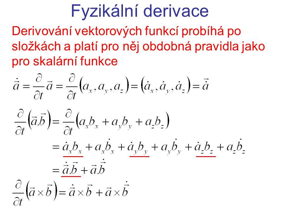 Fyzikální derivace Derivování vektorových funkcí probíhá po složkách a platí pro něj obdobná pravidla jako pro skalární funkce