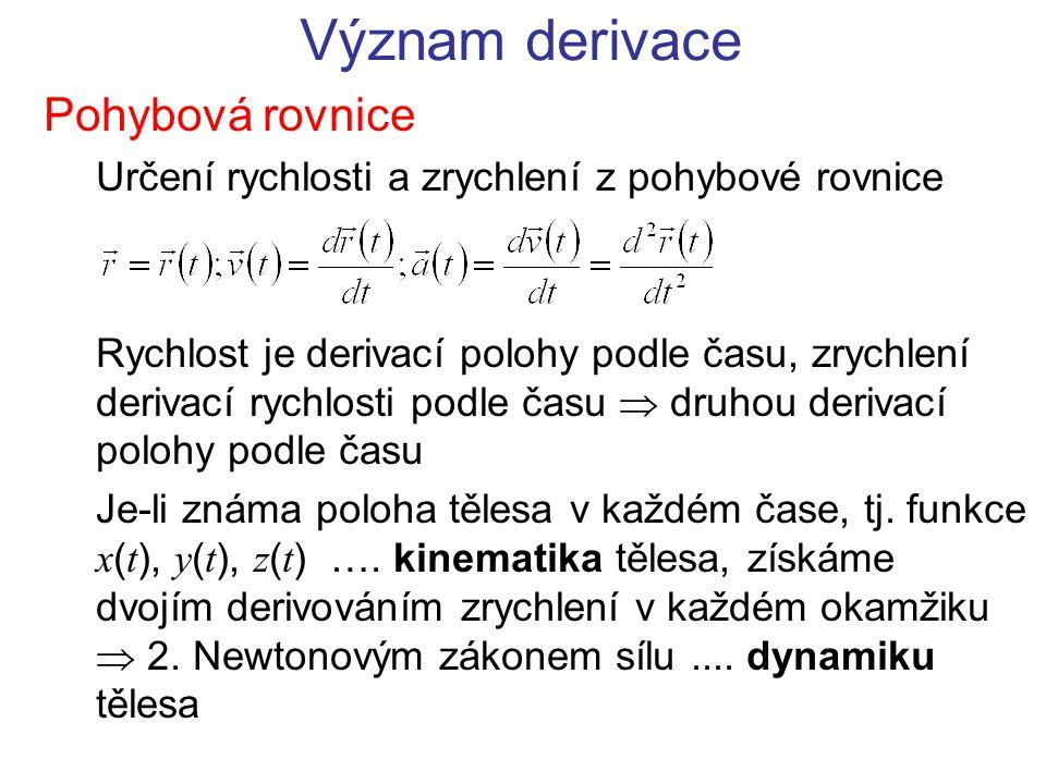 Význam derivace Pohybová rovnice Určení rychlosti a zrychlení z pohybové rovnice Rychlost je derivací polohy podle času, zrychlení derivací rychlosti podle času  druhou derivací polohy podle času Je-li známa poloha tělesa v každém čase, tj.