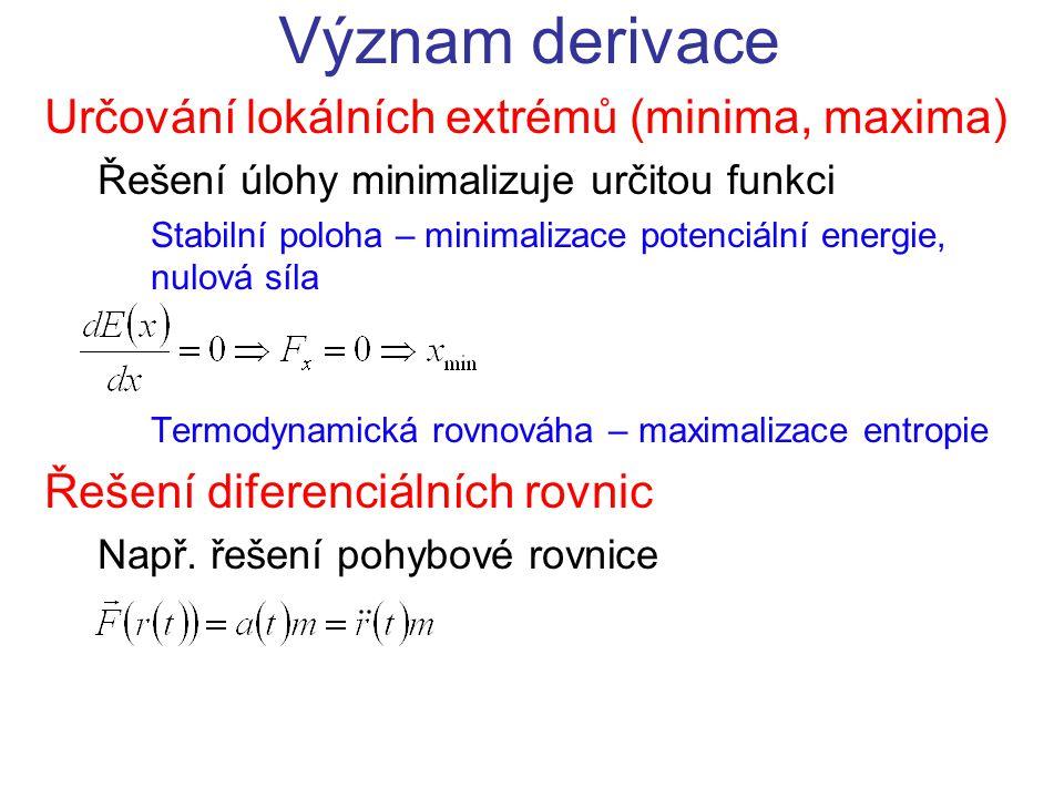 Význam derivace Určování lokálních extrémů (minima, maxima) Řešení úlohy minimalizuje určitou funkci Stabilní poloha – minimalizace potenciální energie, nulová síla Termodynamická rovnováha – maximalizace entropie Řešení diferenciálních rovnic Např.