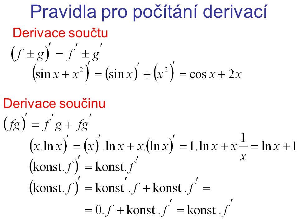 Pravidla pro počítání derivací Derivace součtu Derivace součinu