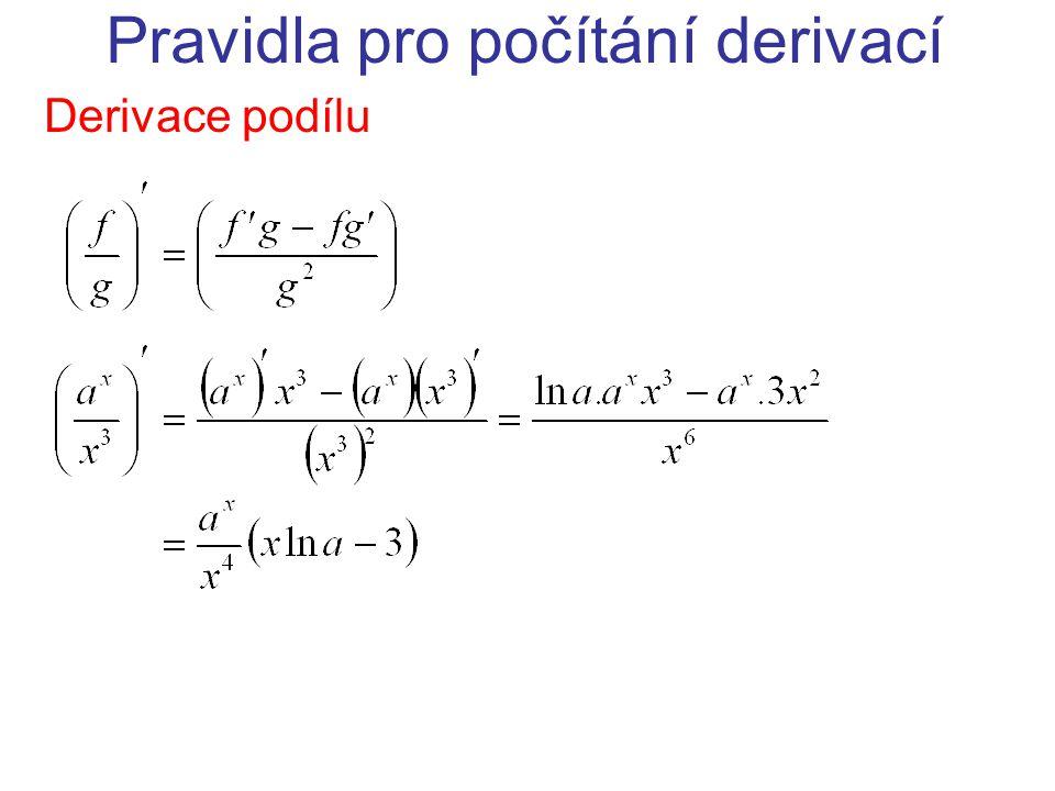 Pravidla pro počítání derivací Derivace podílu