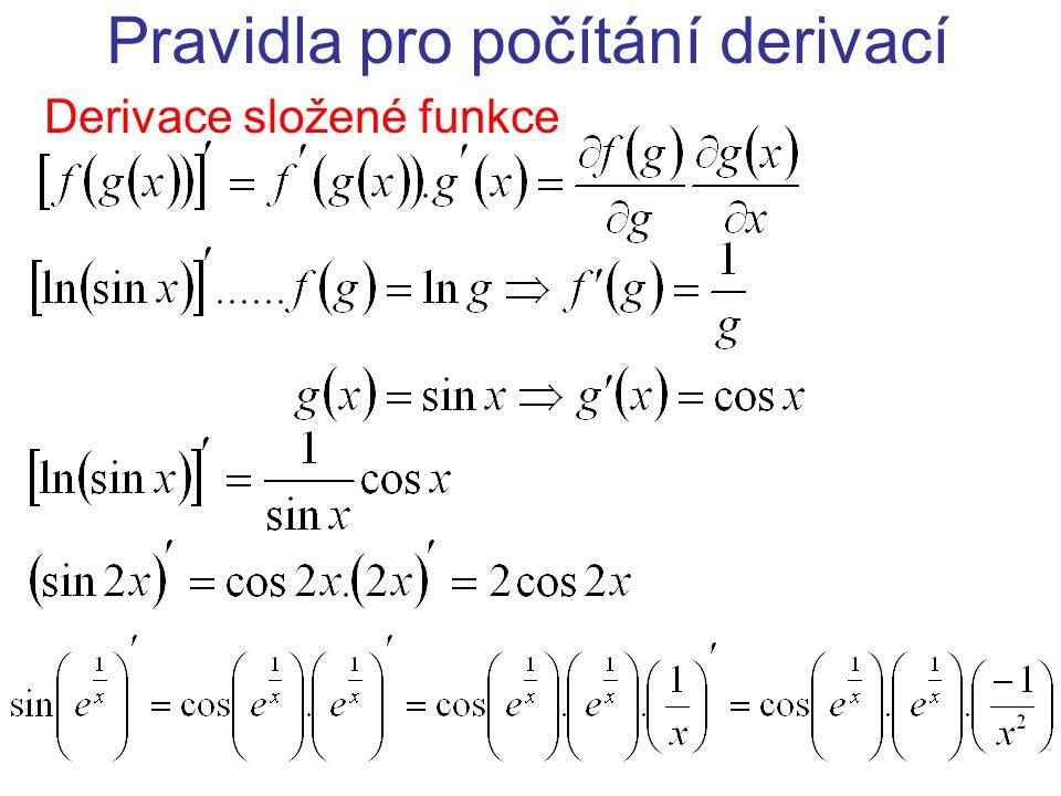 Pravidla pro počítání derivací Derivace složené funkce