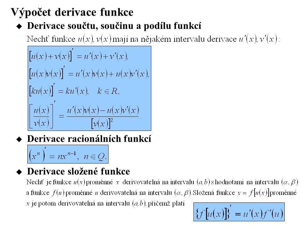 Výpočet derivace funkce  Derivace součtu, součinu a podílu funkcí  Derivace složené funkce  Derivace racionálních funkcí
