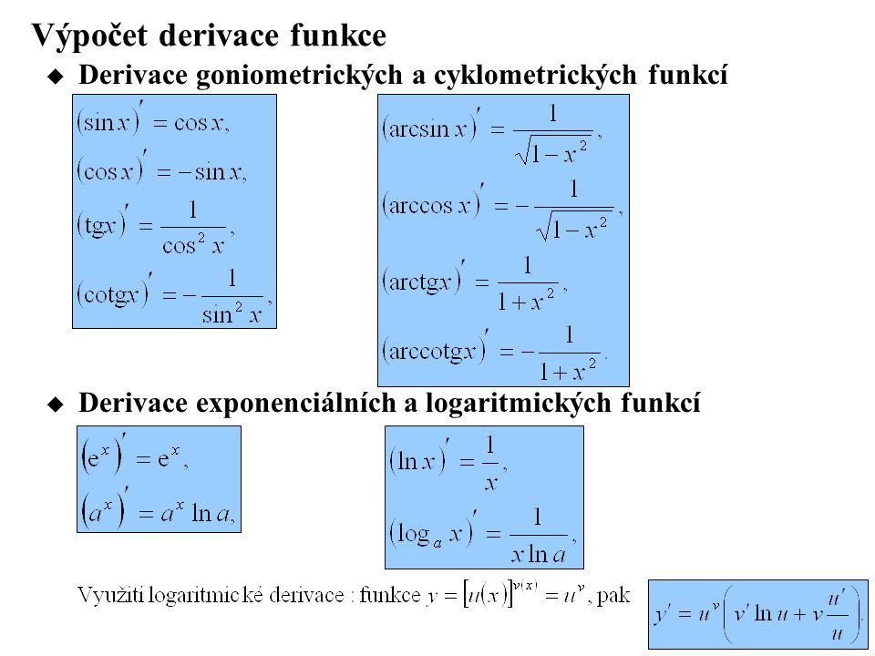 Výpočet derivace funkce  Derivace goniometrických a cyklometrických funkcí  Derivace exponenciálních a logaritmických funkcí