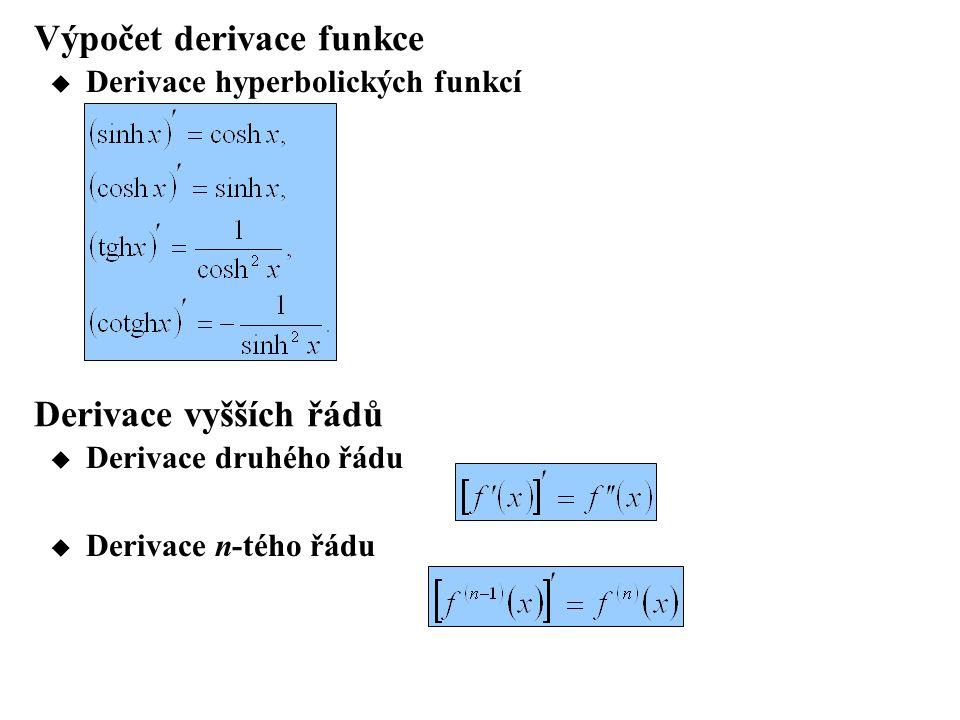 Výpočet derivace funkce  Derivace hyperbolických funkcí Derivace vyšších řádů  Derivace druhého řádu  Derivace n-tého řádu