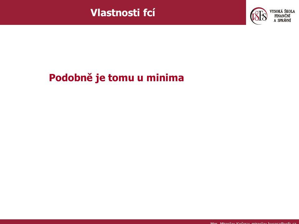 Mgr. Miroslav Kučera; miroslav.kucera@vsfs.cz Vlastnosti fcí Podobně je tomu u minima