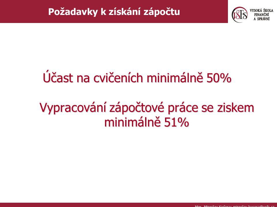 Mgr. Miroslav Kučera; miroslav.kucera@vsfs.cz Požadavky k získání zápočtu Účast na cvičeních minimálně 50% Vypracování zápočtové práce se ziskem minim