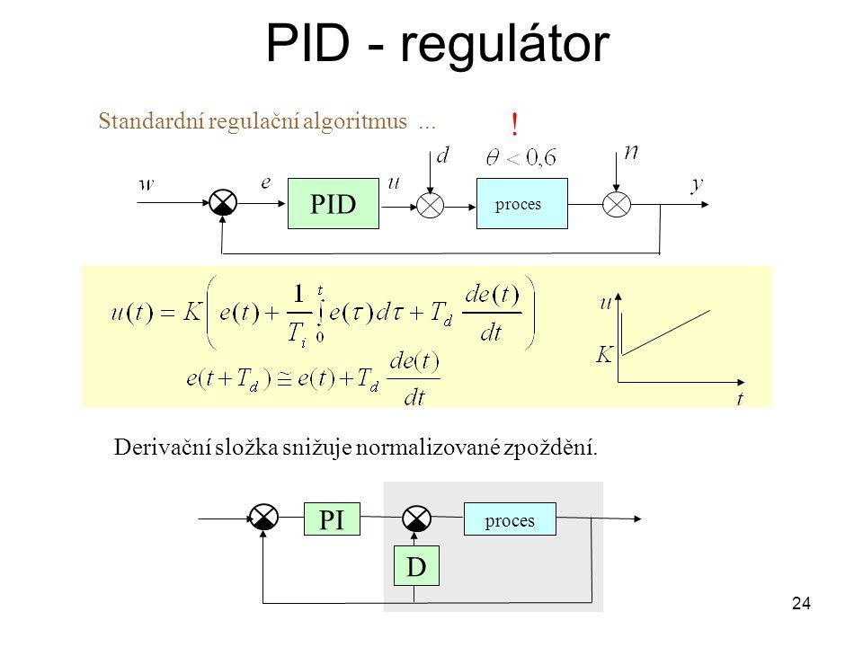 24 PID - regulátor proces PID Derivační složka snižuje normalizované zpoždění.