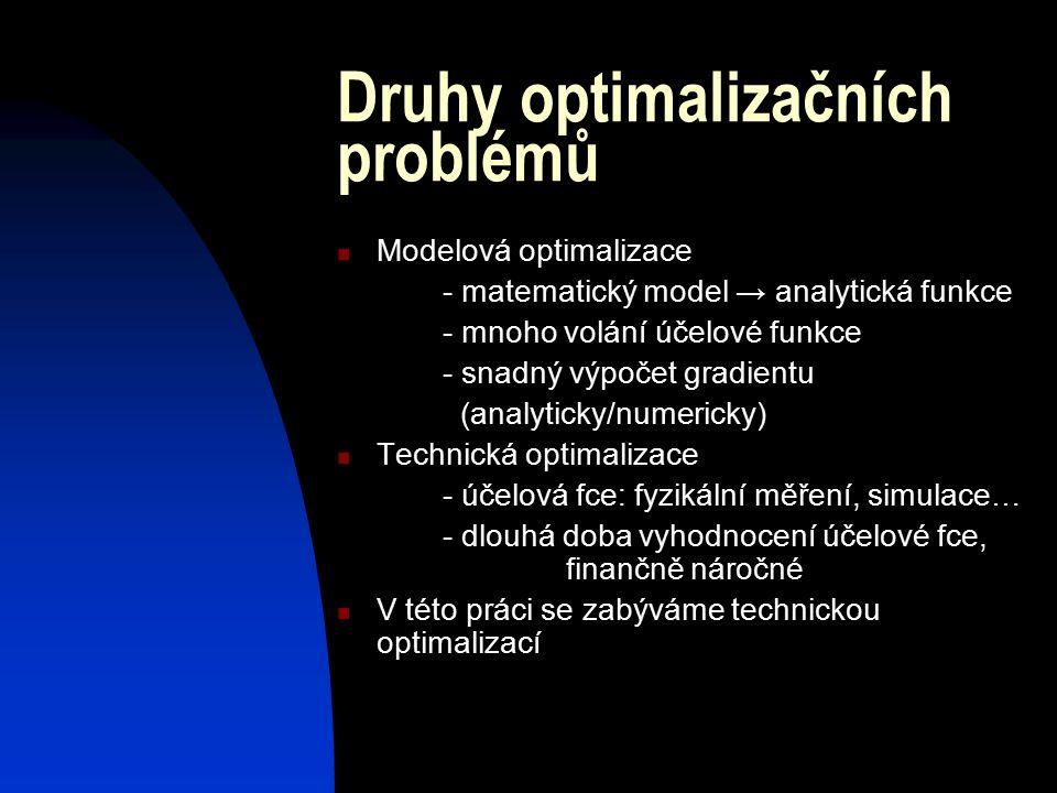 Druhy optimalizačních problémů Modelová optimalizace - matematický model → analytická funkce - mnoho volání účelové funkce - snadný výpočet gradientu (analyticky/numericky) Technická optimalizace - účelová fce: fyzikální měření, simulace… - dlouhá doba vyhodnocení účelové fce, finančně náročné V této práci se zabýváme technickou optimalizací