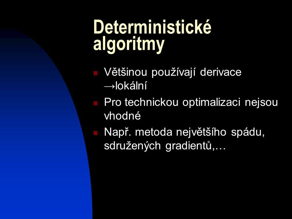 Stochastické algoritmy Náhodné rozhodování během výpočtu Některé hledají globální extrém Zástupci: stochastický horolezecký algoritmus nebo simulované žíhání Nejpoužívanější – genetické algoritmy