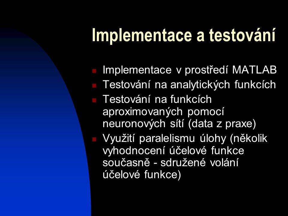 Implementace a testování Implementace v prostředí MATLAB Testování na analytických funkcích Testování na funkcích aproximovaných pomocí neuronových sítí (data z praxe) Využití paralelismu úlohy (několik vyhodnocení účelové funkce současně - sdružené volání účelové funkce)