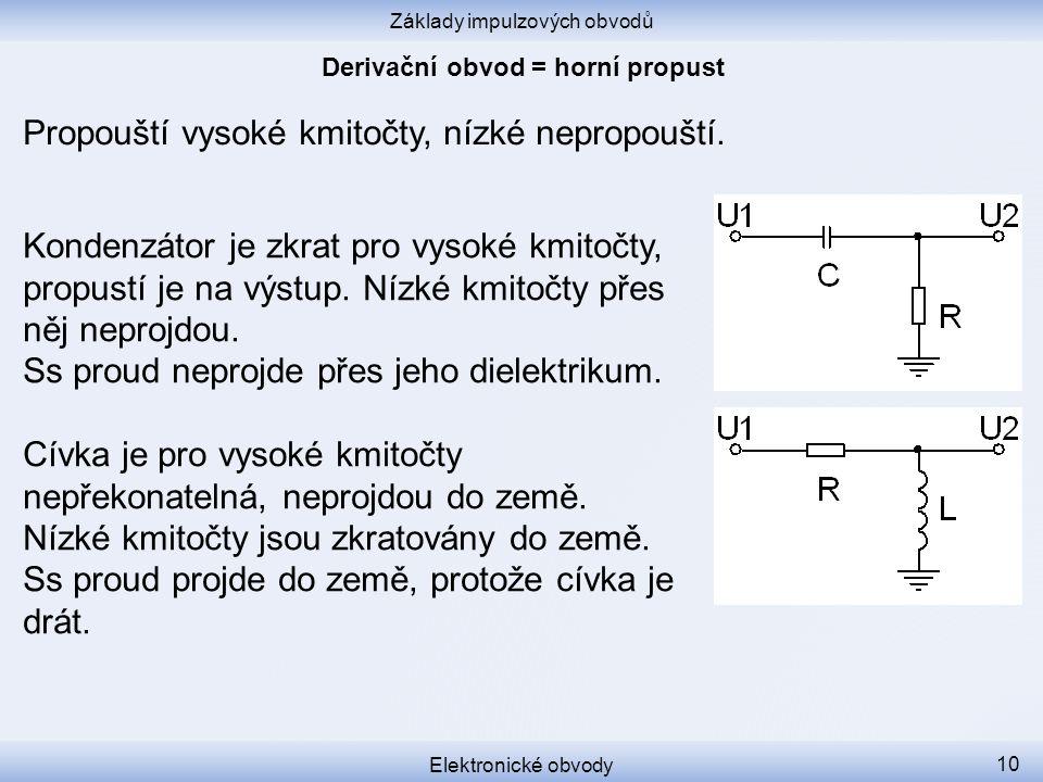 Základy impulzových obvodů Elektronické obvody 10 Propouští vysoké kmitočty, nízké nepropouští.
