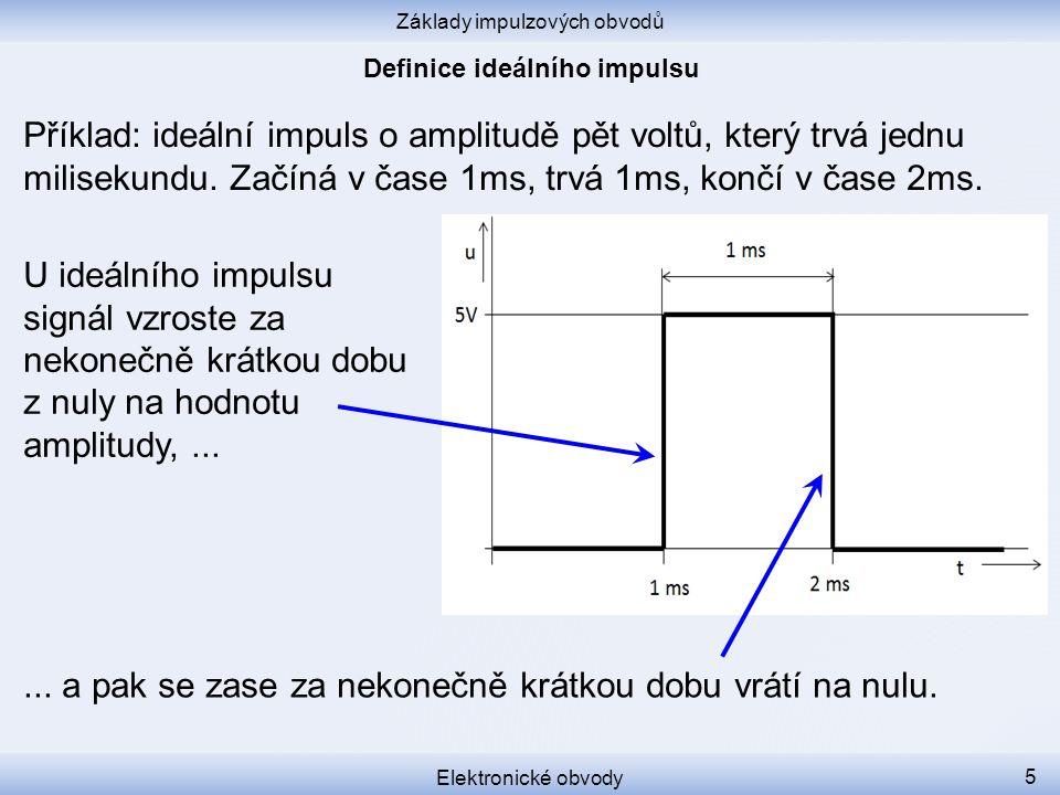 Základy impulzových obvodů Elektronické obvody 5 Příklad: ideální impuls o amplitudě pět voltů, který trvá jednu milisekundu.