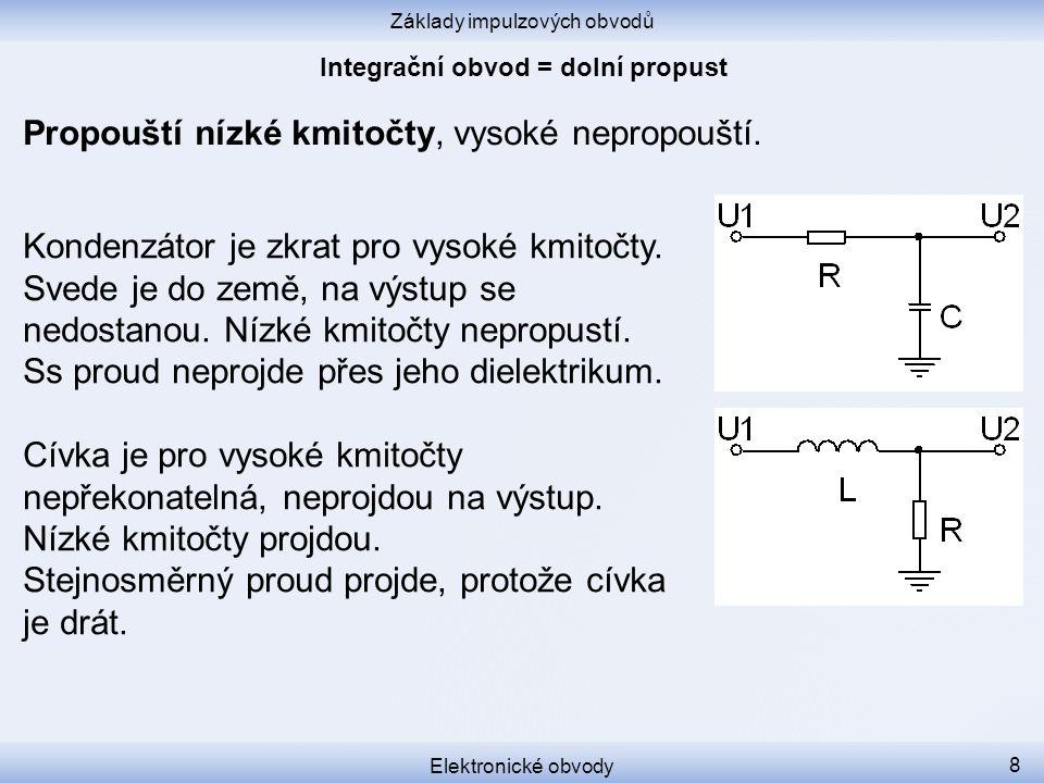 Základy impulzových obvodů Elektronické obvody 8 Propouští nízké kmitočty, vysoké nepropouští.