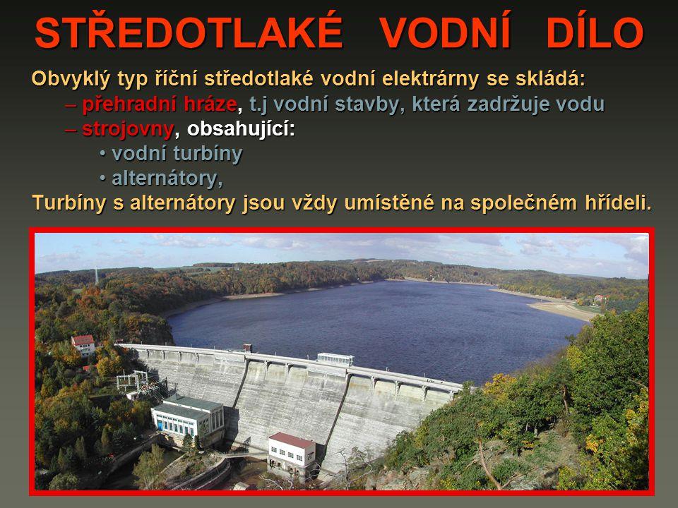 STŘEDOTLAKÉ VODNÍ DÍLO Obvyklý typ říční středotlaké vodní elektrárny se skládá: – přehradní hráze, t.j vodní stavby, která zadržuje vodu – strojovny,