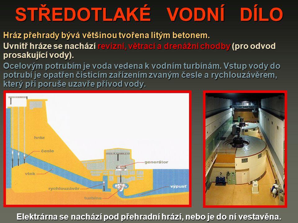 STŘEDOTLAKÉ VODNÍ DÍLO Hráz přehrady bývá většinou tvořena litým betonem. Uvnitř hráze se nachází revizní, větrací a drenážní chodby (pro odvod prosak
