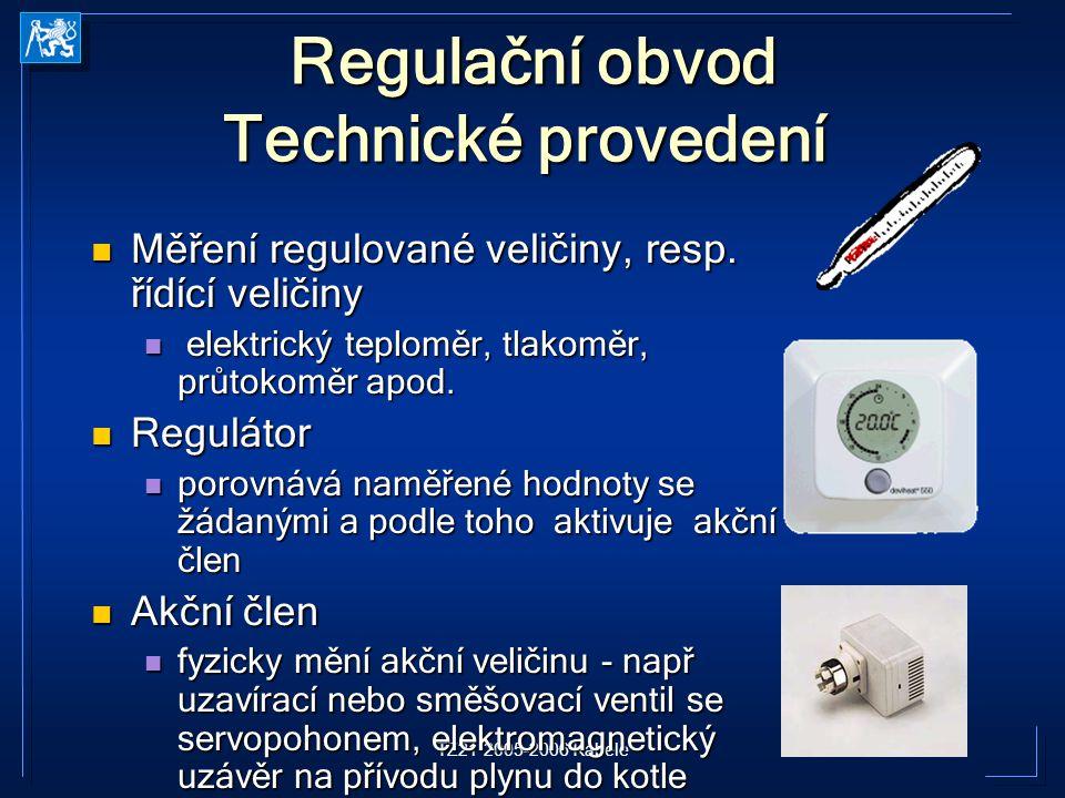 TZ21 2005-2006 Kabele Regulační obvod Technické provedení Regulační obvod Technické provedení Měření regulované veličiny, resp. řídící veličiny Měření