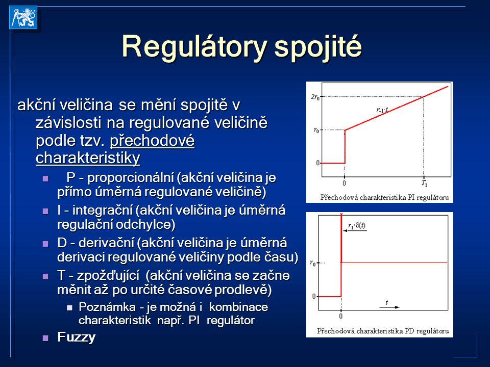 Regulátory spojité akční veličina se mění spojitě v závislosti na regulované veličině podle tzv. přechodové charakteristiky P - proporcionální (akční