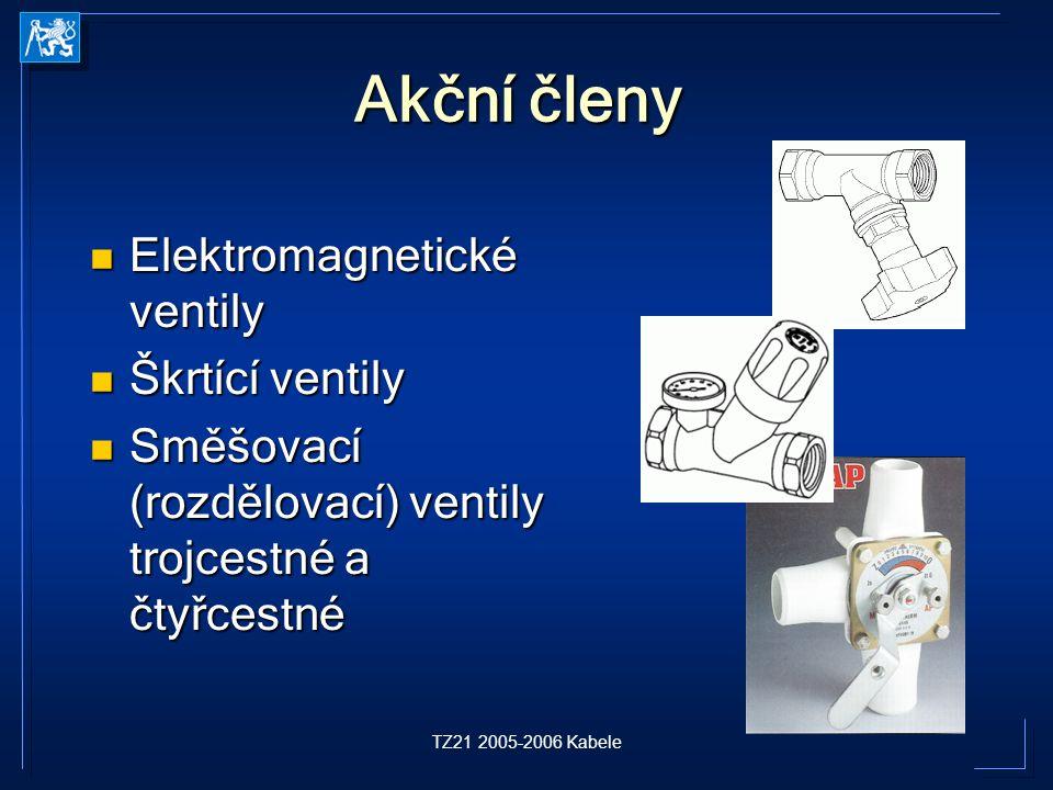 TZ21 2005-2006 Kabele Akční členy Elektromagnetické ventily Elektromagnetické ventily Škrtící ventily Škrtící ventily Směšovací (rozdělovací) ventily