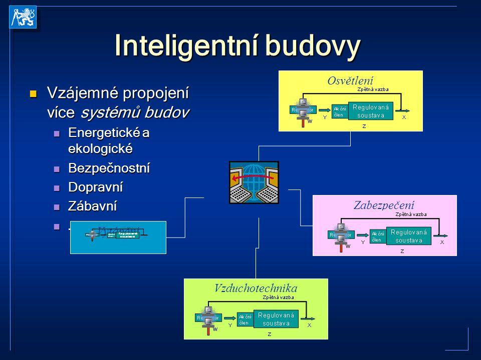Inteligentní budovy Vzájemné propojení více systémů budov Vzájemné propojení více systémů budov Energetické a ekologické Energetické a ekologické Bezp