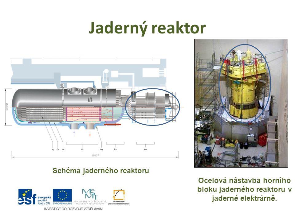 Jaderný reaktor Ocelová nástavba horního bloku jaderného reaktoru v jaderné elektrárně. Schéma jaderného reaktoru