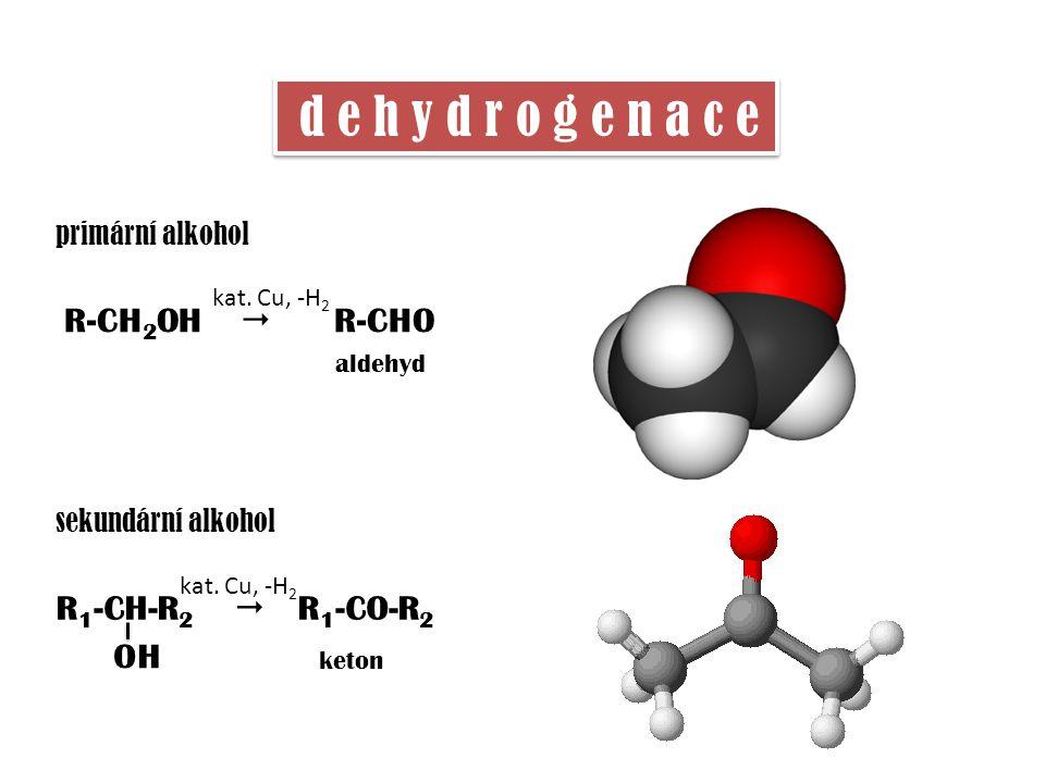 d e h y d r o g e n a c e R-CH 2 OH  R-CHO aldehyd kat. Cu, -H 2 primární alkohol sekundární alkohol R 1 -CH-R 2  R 1 -CO-R 2 OH keton kat. Cu, -H 2