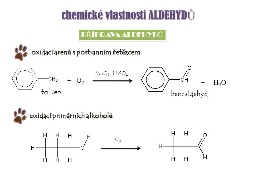 chemické vlastnosti ALDEHYD Ů P Ř ÍPRAVA ALDEHYD Ů + O 2 + H 2 O toluen benzaldehyd oxidací primárních alkohol ů MnO 2, H 2 SO 4 oxidací aren ů s post
