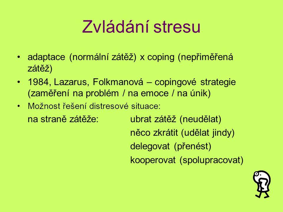 Zvládání stresu adaptace (normální zátěž) x coping (nepřiměřená zátěž) 1984, Lazarus, Folkmanová – copingové strategie (zaměření na problém / na emoce