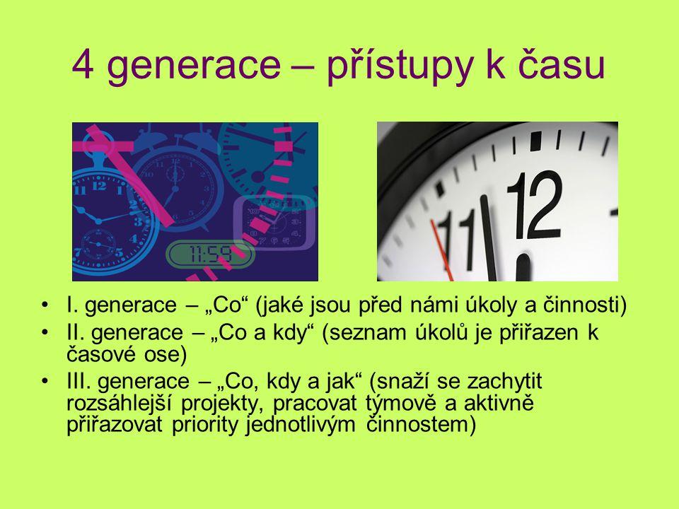 """4 generace – přístupy k času I. generace – """"Co"""" (jaké jsou před námi úkoly a činnosti) II. generace – """"Co a kdy"""" (seznam úkolů je přiřazen k časové os"""