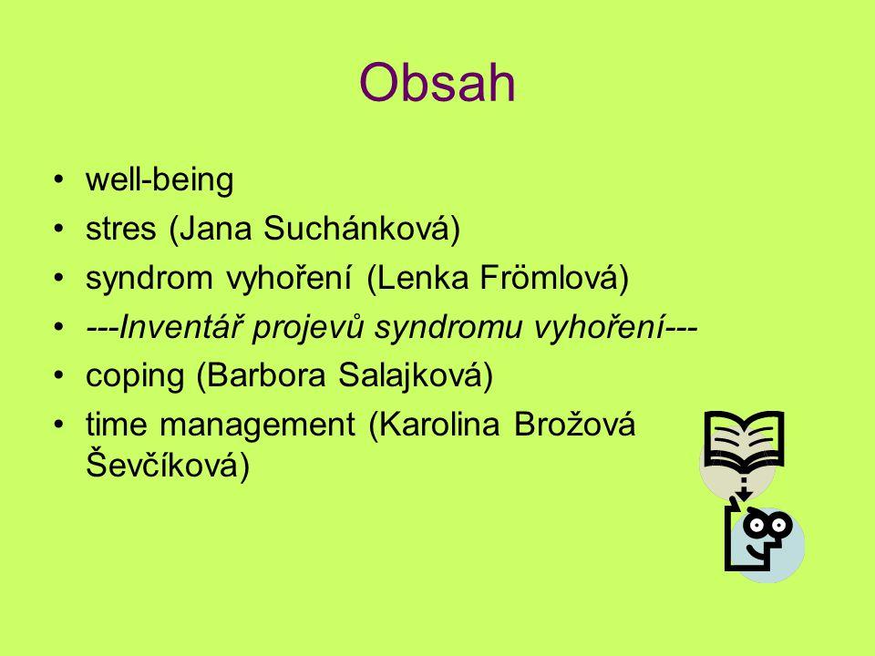 Obsah well-being stres (Jana Suchánková) syndrom vyhoření (Lenka Frömlová) ---Inventář projevů syndromu vyhoření--- coping (Barbora Salajková) time ma
