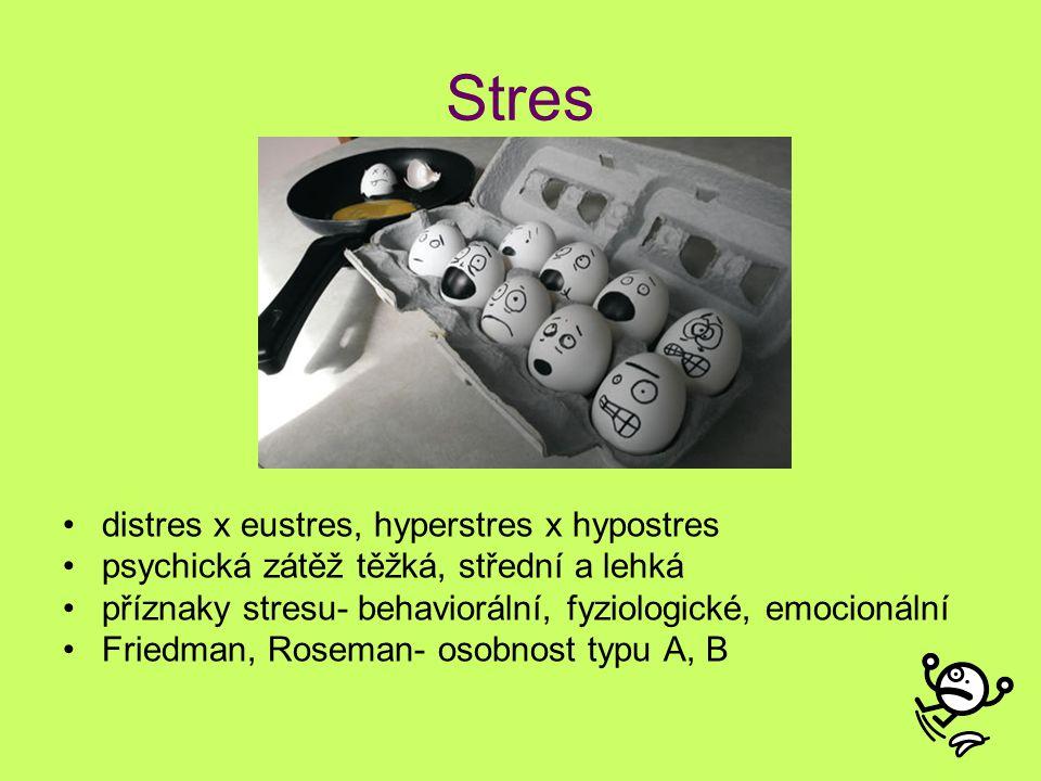 Stres distres x eustres, hyperstres x hypostres psychická zátěž těžká, střední a lehká příznaky stresu- behaviorální, fyziologické, emocionální Friedm