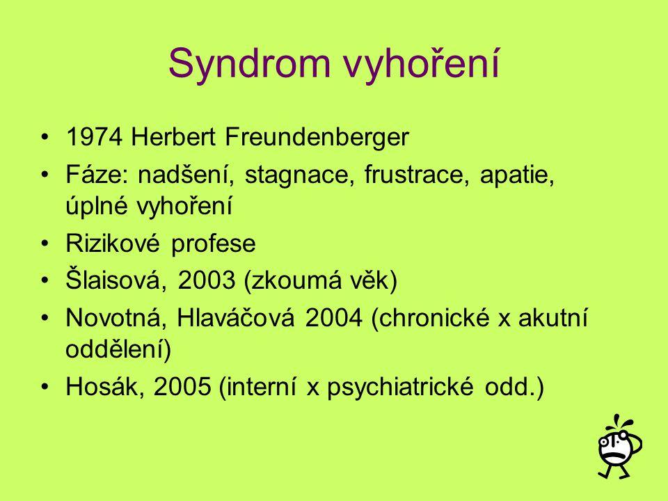Syndrom vyhoření 1974 Herbert Freundenberger Fáze: nadšení, stagnace, frustrace, apatie, úplné vyhoření Rizikové profese Šlaisová, 2003 (zkoumá věk) N